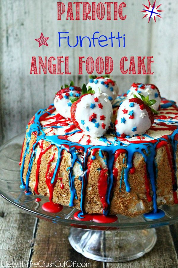 Patriotic Funfetti Angel Food Cake  The perfect dessert for your 4th of July celebrations!
