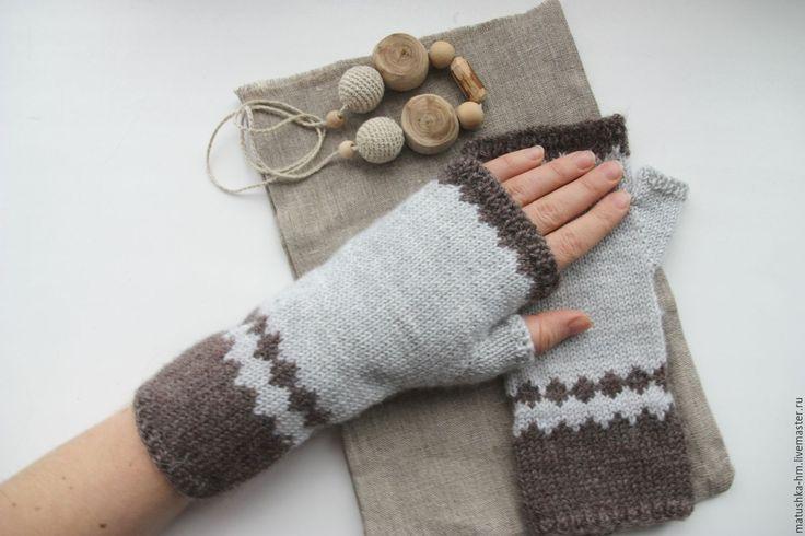 Купить Митенки - комбинированный, серый, коричневый, митенки, митенки вязаные, митенки из шерсти, шерсть, варежки, митенки ручной работы, ручная работа, knitting, mittens,  knitted accessories,  knitted mittens, wool mittens