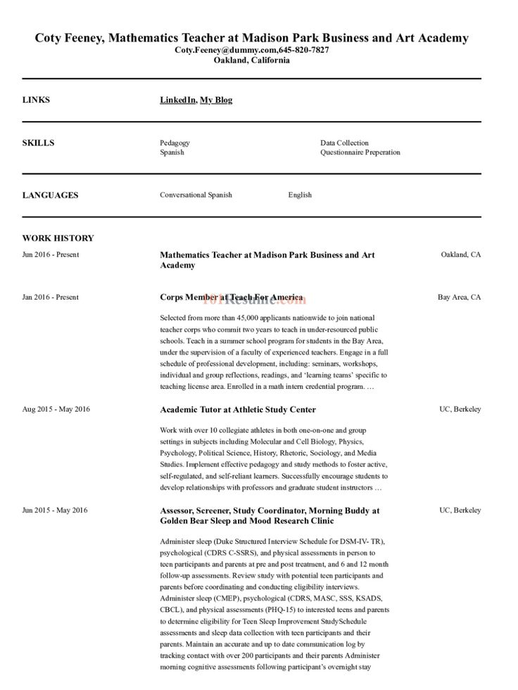 High School Mathematics Teacher resume sample in 2020