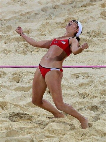 Misty May-Treanor of the United States celebrates winning the gold medal