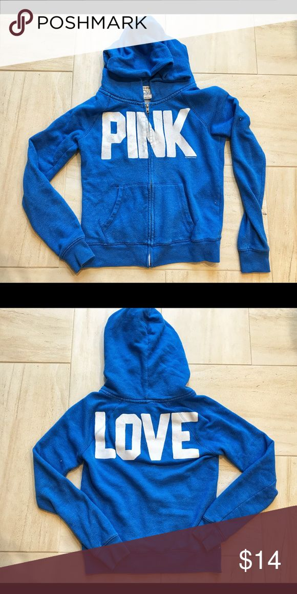 Victoria's Secret PINK blue zip up hoodie This blue vintage wash Victoria secret pink hoodie is soo soft and comfy!  Size small. From a pet free and smoke free home. Used but in great shape. It's a vintage wash so is already worn in and soft! PINK Victoria's Secret Tops Sweatshirts & Hoodies