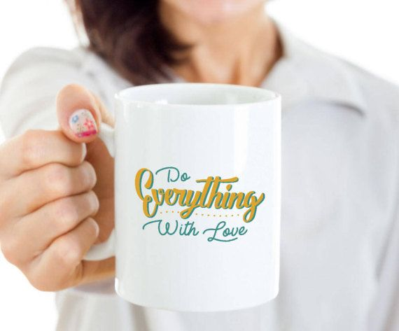 Do Everything With Love Lettering Quote Mug by dungishop on Etsy