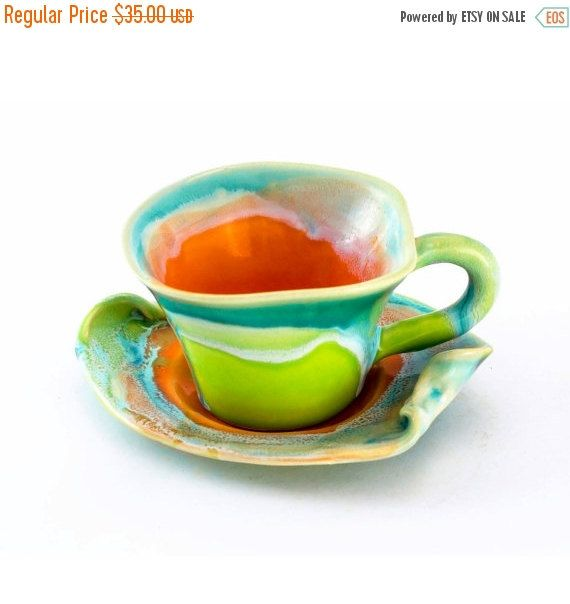 SALE Stoneware cup coffee tea saucer small clay  - unique handmade created with love to enamel colours - orange green turquoise