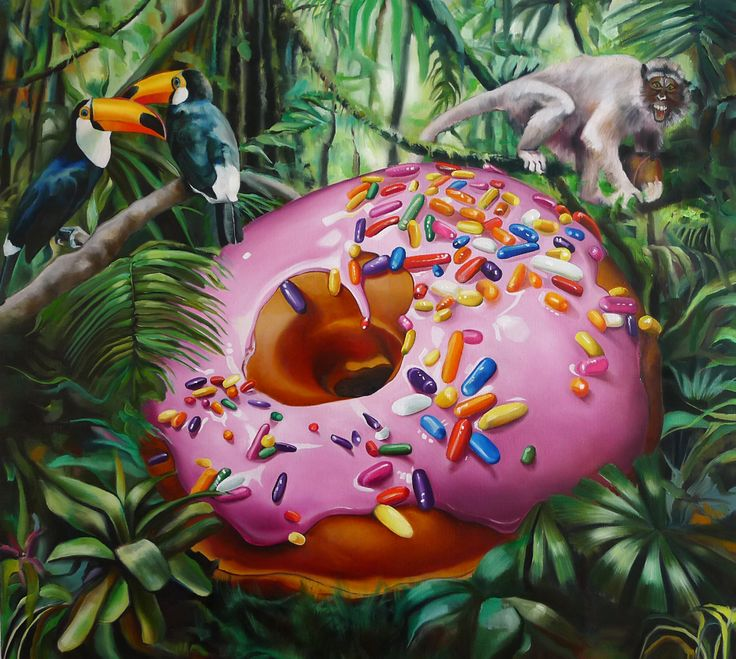 """""""We the Donuts"""", 100cm x 90cm, oil, canvas, 2014 http://justynakisielewicz.com/praca,123,we_the_donuts"""