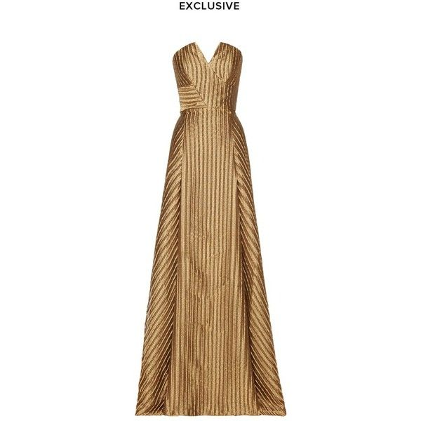 Roland Mouret Bodmin Gown (12,235 ILS) ❤ liked on Polyvore featuring dresses, gowns, gold, gown, brown evening gowns, strapless dress, sweetheart gowns, evening gowns and brown evening dress