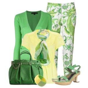 Босоножки мятного цвета, брюки с зеленым принтом, желтая блузка, зеленая кофточка, темно-зеленая сумка и легкий шарфик