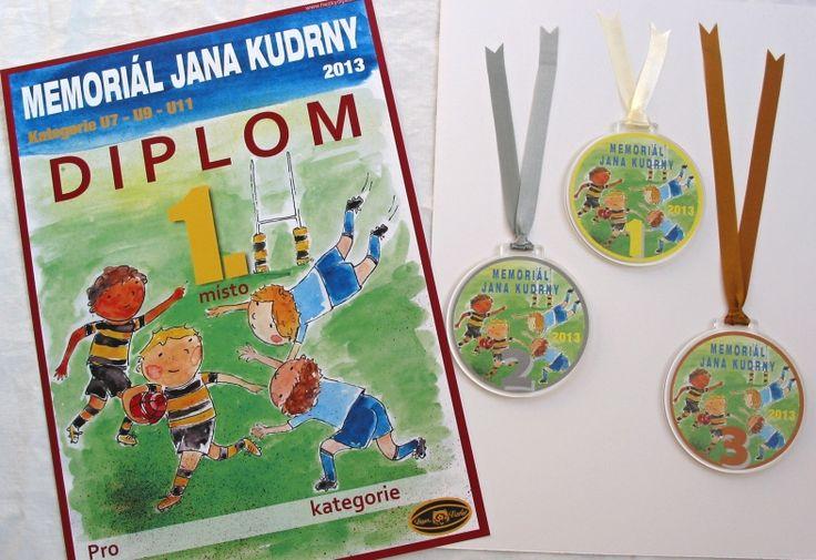 medaile a diplom - rugby - Memoriál Jana Kudrny na Pragovce