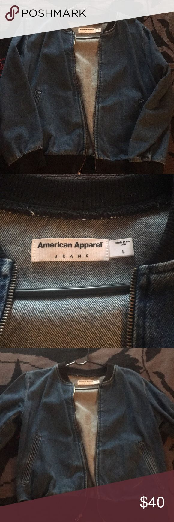 American Apparel jean bomber jacket Dead stock jacket, arms are too short for me. Fits more of a medium. American Apparel Jackets & Coats