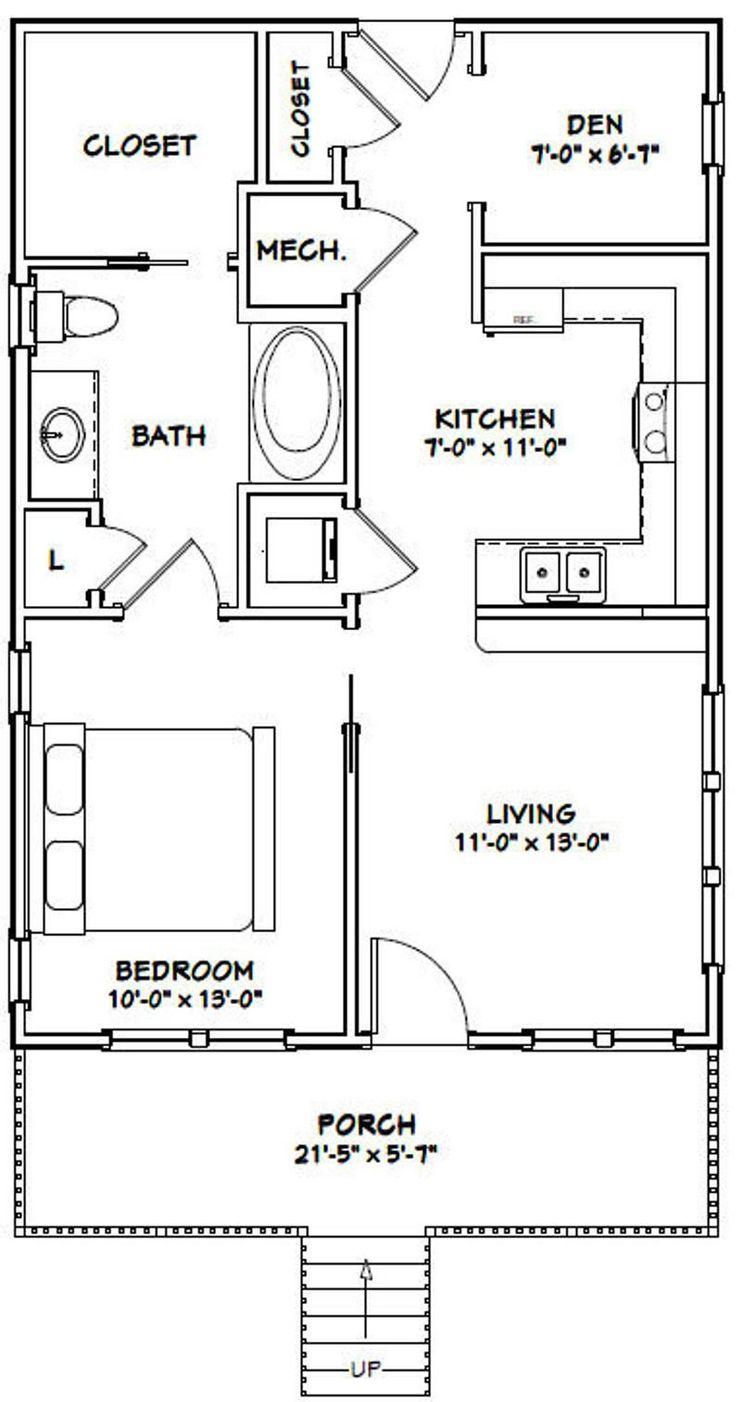 22x32 House -- 1-Bedroom 1-Bath -- 704 sq ft -- PDF Floor ...