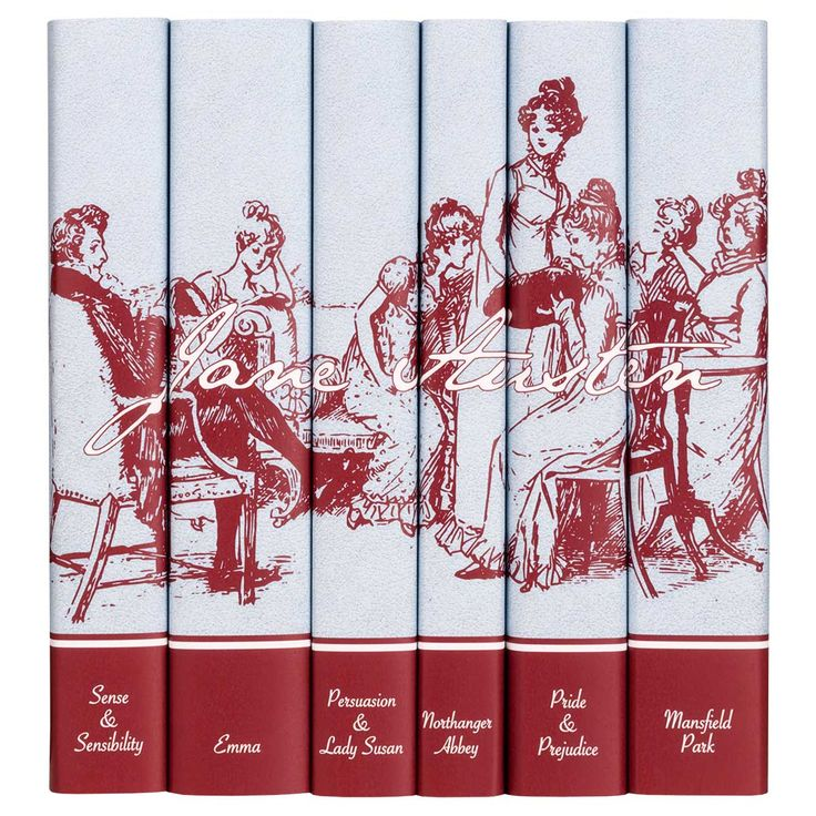 The complete works of Jane Austen as a set of beautifully illustrated hardbacks with custom books jackets that displayan intricate Victorian engraving acr