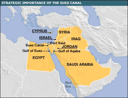 Map showing Suez Canal and surrounding region