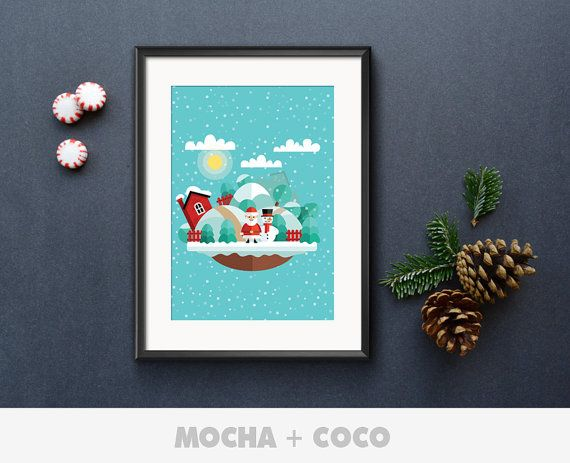 Christmas Santa Illustration Poster, New Year Eve Wall Art, Christmas Wall Decor, Kids Room, Printable Mocha + Coco, INSTANT FILE DOWNLOAD