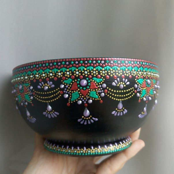 Designer dot painting  urthen pot.