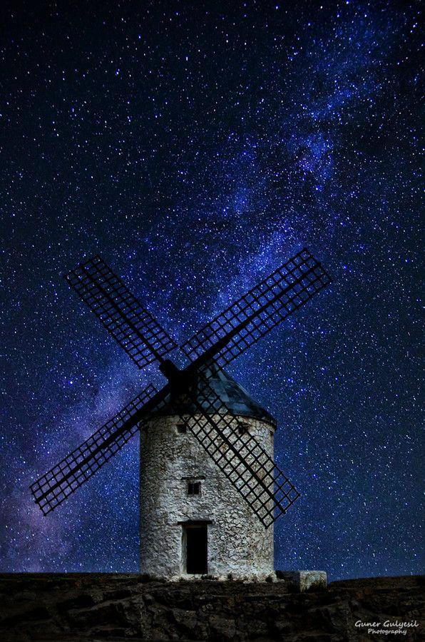 Windmill Under Milkyway by Guner Gulyesil