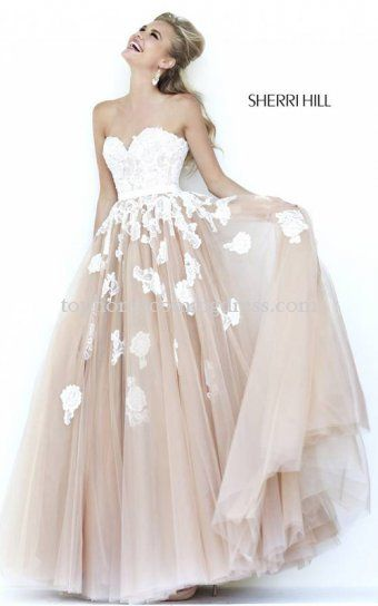 2015 Sherri Hill 11200 Ivory Nude Lace Strapless Prom Gown