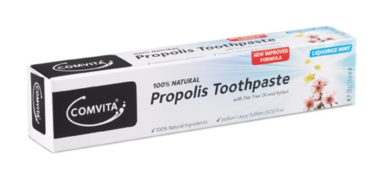 Naturally Cleans and Brightens Teeth.    Comvita®'s Natural Propolis Toothpaste is a great tasting, 100% natural alternative which helps to maintain oral health and hygiene.  Xylitol, a natural substance found in birch trees, helps to prevent plaque build-up with regular brushing.  Tea Tree Oil and other essential oils work together to freshen your breath.