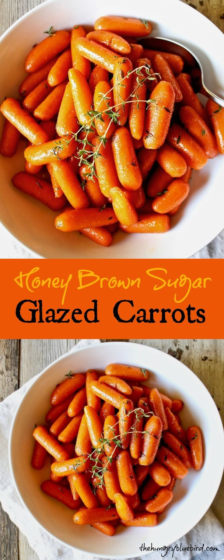 Baby carrots cooked on the stovetop in butter, honey and brown sugar until tender and glazed, finished off with a sprinkling of fresh thyme.