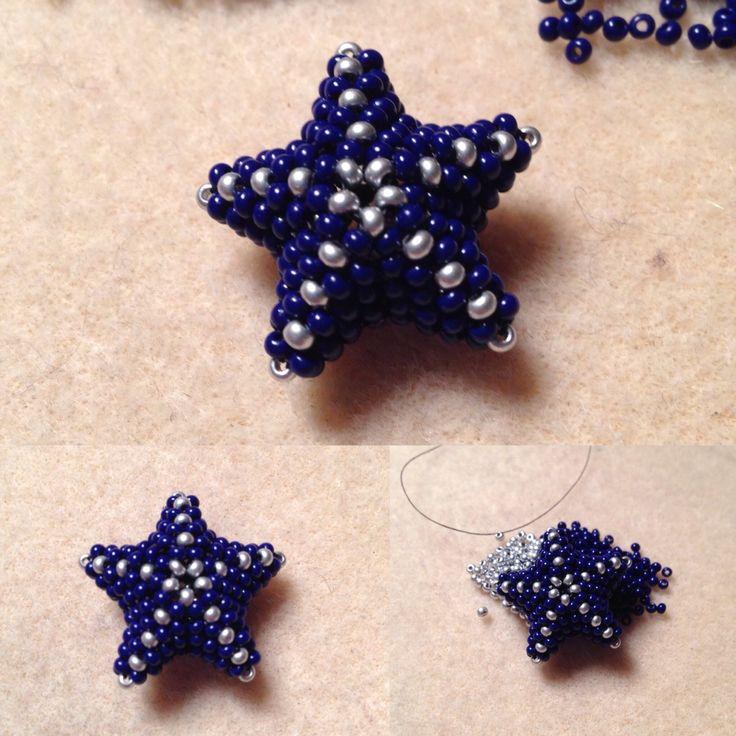 Star Christmas decoration #seedbead #peyote #3D
