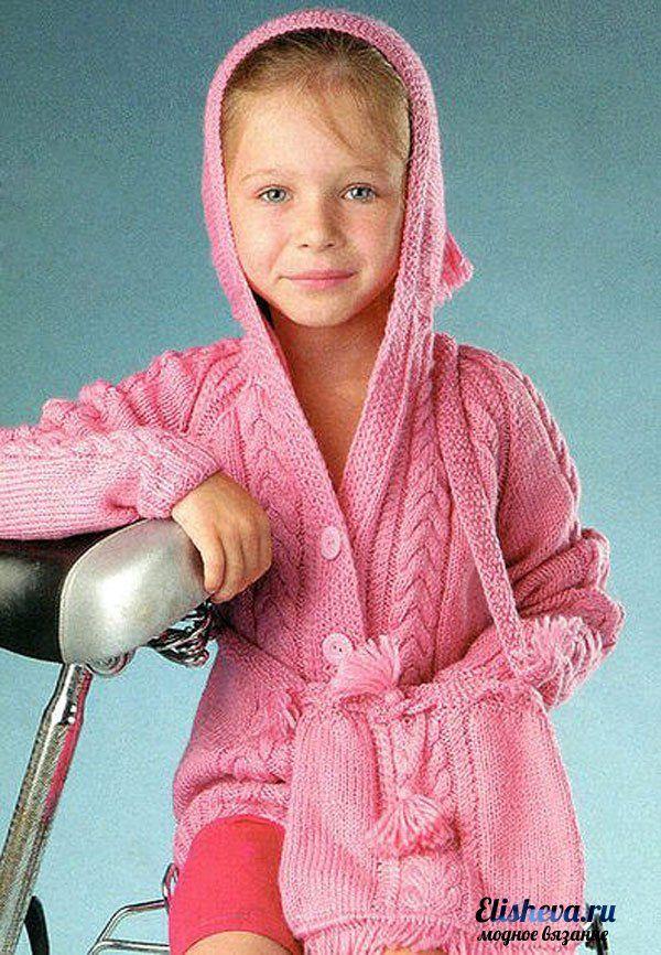 Жакет и сумочка розового цвета для девочки вязаные спицами