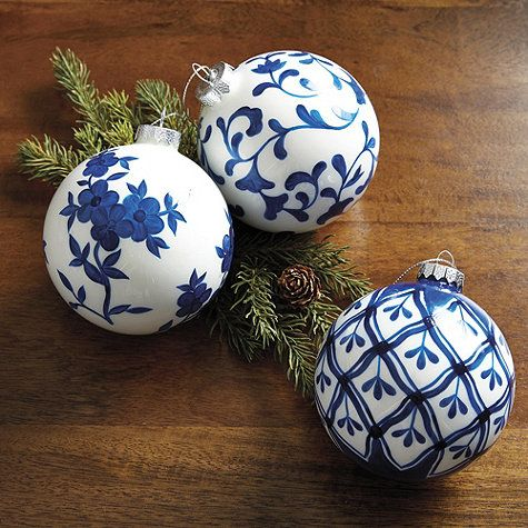 Christmas Decor.  Chinoiserie Ornaments.  Blue and White Christmas Tree Theme.