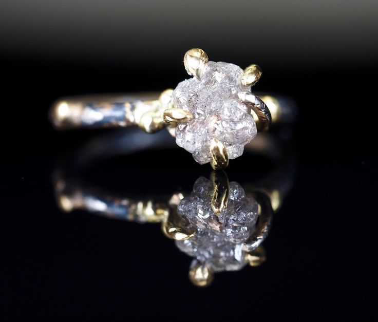 Uncut Raw White Diamond Engagement Ring with 18K Gold Claws