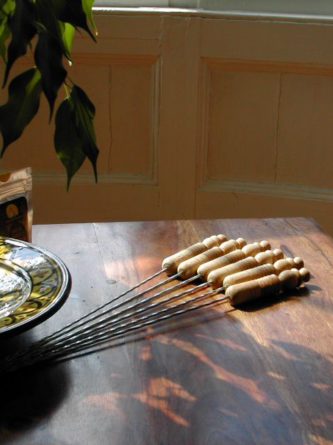 Set of 6 wooden handled kebab skewers. http://www.maroque.co.uk/showitem.aspx?id=ENT00613&p=01570&n=all
