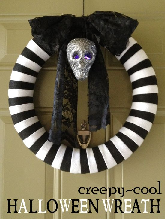 Creepy Cool Halloween wreath! Made from a pool noodle!!