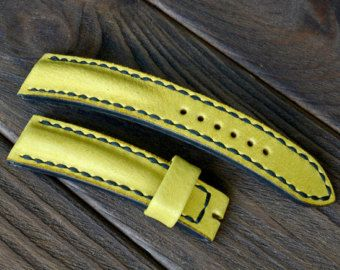 Leather black watch strap handmade 22x20mm by VladislavKostetskyi