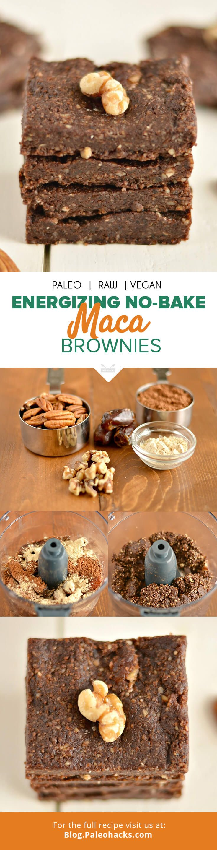 Mix things up with these raw chocolate-laced maca brownies, spiked with energizing maca powder. For the full recipe visit us here: http://paleo.co/macabrownies