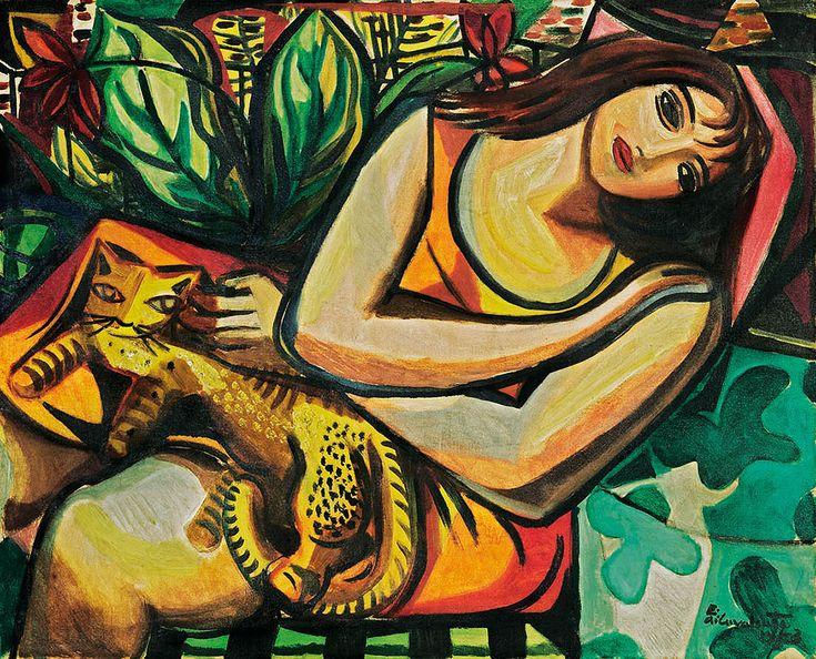 """[Emiliano] Di Cavalcanti (Brazilian, 1897-1976) - """"Mulher com Gato"""" (Woman and…"""