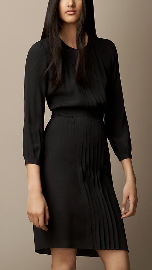 Vestido de seda e algodão com detalhe da dobra | Burberry