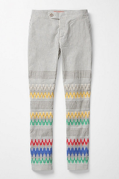Stitched & Striped Pants #anthropologie: Stitchy Pants, Embroidered Pants, Idea, Style, Clothes, Clothing, Striped Pants, Things, Stitched Pants