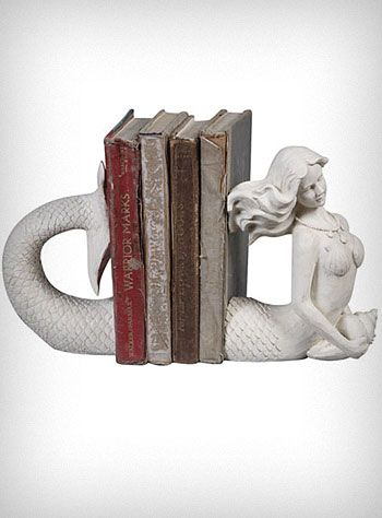 Turn Your Bookshelves Into A Mini Art Gallery With These Sculptural Mermaid  Shaped Bookends. Reminiscent Of The Victorian Era, The Cream Colored Cast  Resin ...