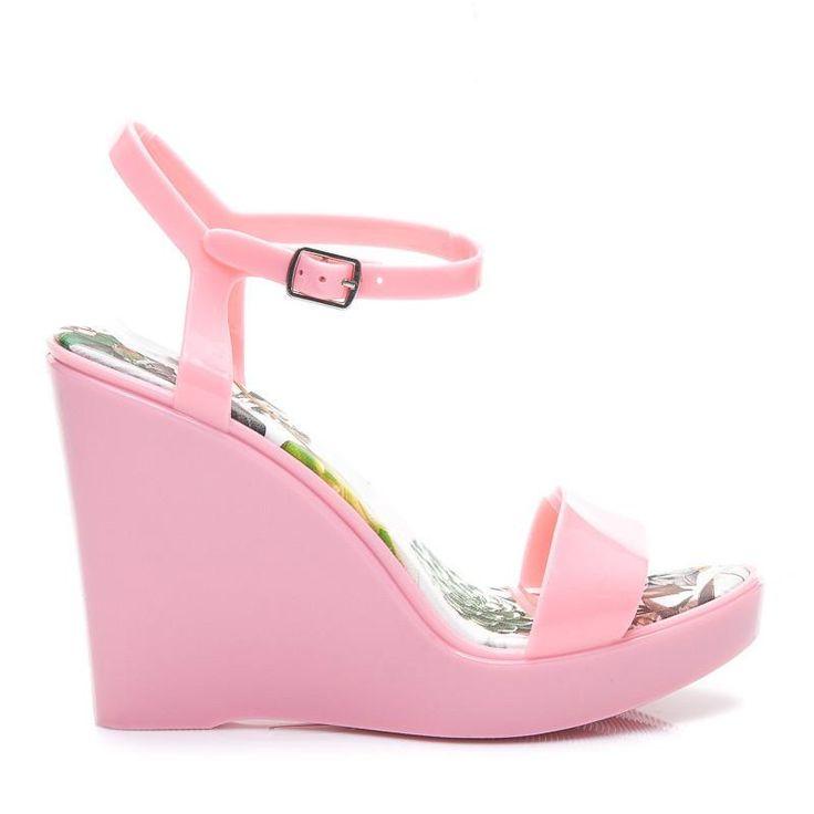 Gumowe sandały na koturnie Meliski Różowe