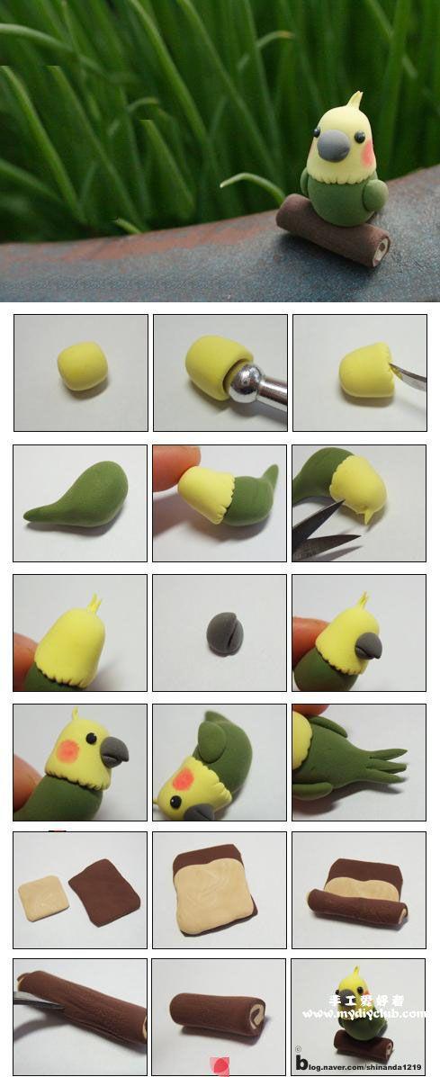 6 tutos d'oiseaux! Fimo, fondant, pâte à sucre, pâte d'amande.