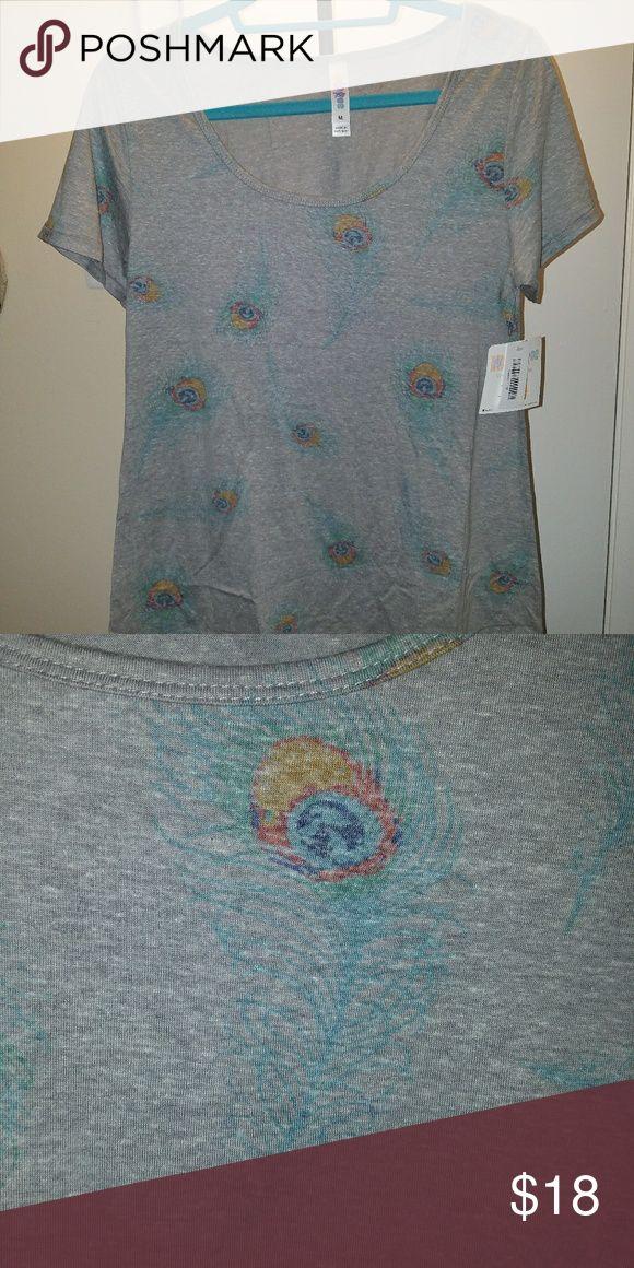 NWT LuLaRoe Peacock Shirt Peacock Feather Pattern Women's M T-shirt (fits loose) LuLaRoe Tops Tees - Short Sleeve
