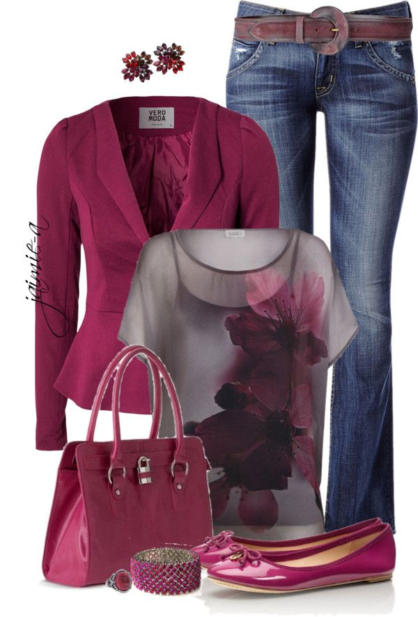 """Tory Burch Flats & Raspberry"" by jaimie-a ❤ liked on Polyvore"