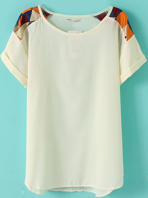 I don't know which I love more, the shirt or the wall color. White Short Sleeve Geometric Print Shoulder Chiffon T-Shirt