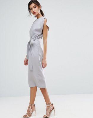 Платье миди с поясом, разрезами на рукавах и юбкой‑карандаш ASOS