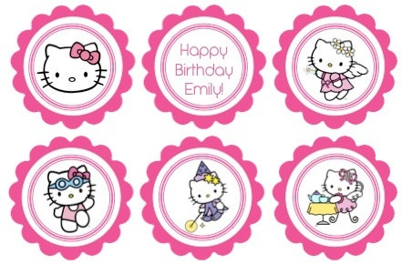Printable birthday cupcake toppers hello kitty theme for Hello kitty cupcake topper template