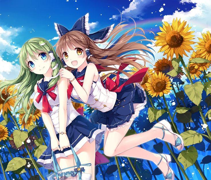 anime illustration, sunflowers