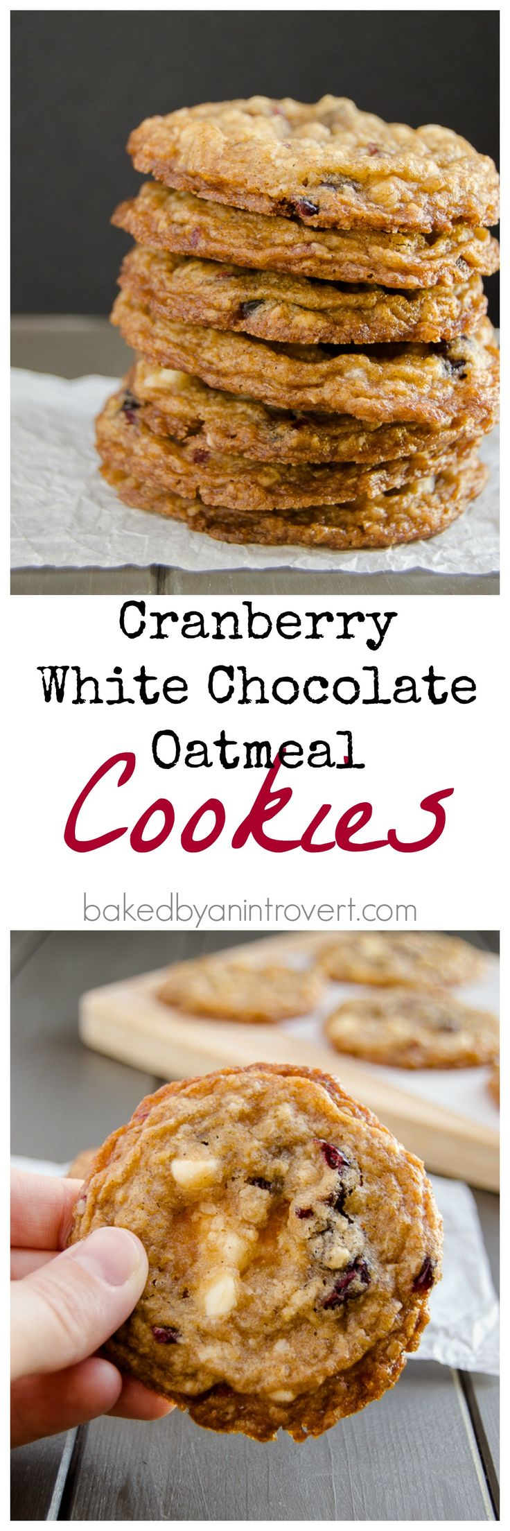 Cranberry White Chocolate Oatmeal Cookies - Amazingly chewy and simple oatmeal cookies with dried cranberries and white chocolate chips. From @jenbakesblog