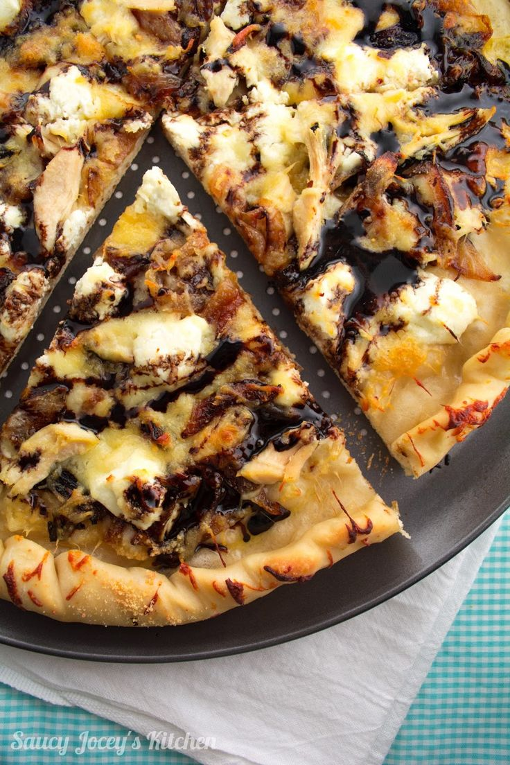 Balsamic glaze, three cheeses, caramelized onions, and shredded chicken come together in a decadent take on white pizza.