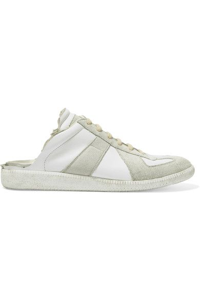 Maison Margiela - Leather And Suede Slip-on Sneakers - White - IT36.5