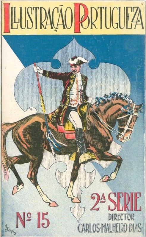 Vintage magazine cover illustrating a Portuguese Cavalier. 1906