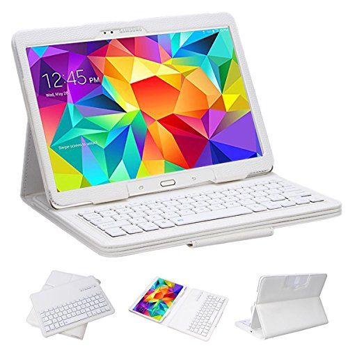 """Samsung Galaxy Tab 4 10.1 Case with KEYBOARD - Ultra Slim Detachable Bluetooth Keyboard Portfolio Leather Case Cover for Samsung Tab 4 10.1"""" Inch"""