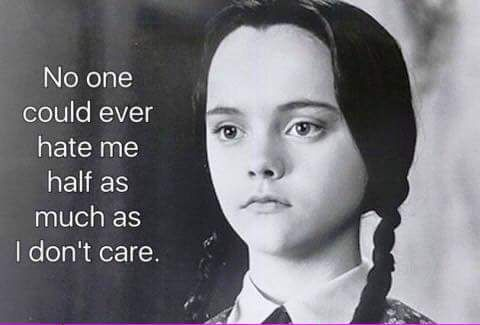 Believe me when I say, I truly do not care.                              …