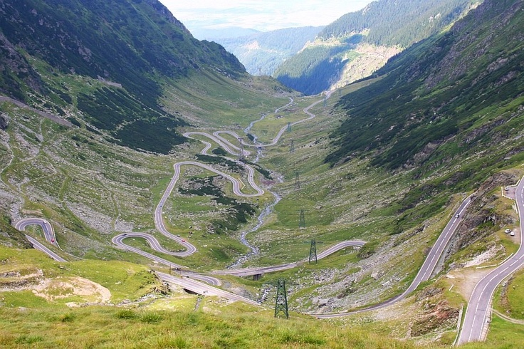 Transfagarasan Road, Romania's highest asphalt road, winding over the Fagaras Mountains, connecting Transilvania to Wallachia.