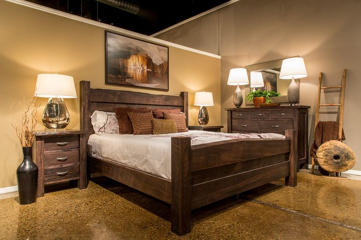 This solid maple, Canadian-made bedroom features a live edge. Each piece offers a rustic charm and uniqueness.