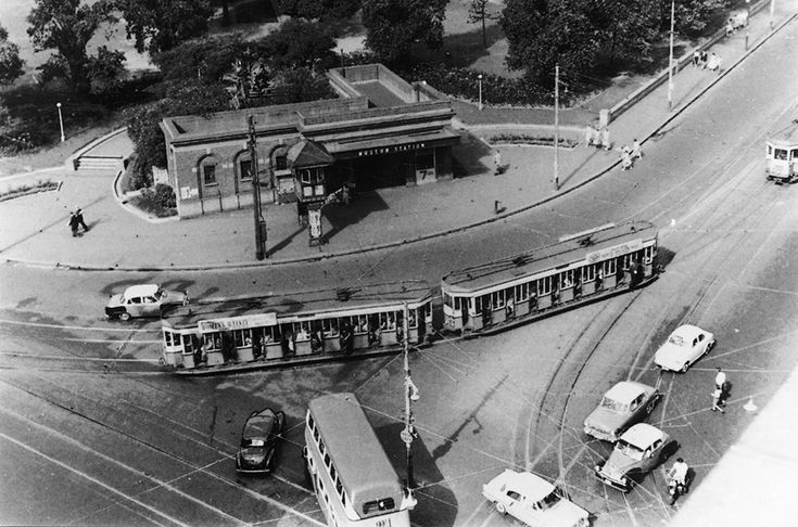 Tram at Museum station Sydney. Date? late 1940's early 50's.